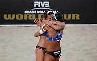 Italy's Greta Cicolari, left, and Marta Menegatti celebrate at the Beach Volleyball World Tour Grand Slam, Foro Italico, Rome, 21 June 2013.<br /> UPDATE IMAGES PRESS/Isabella Bonotto