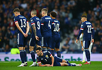 9th October 2021; Hampden Park, Glasgow, Scotland; FIFA World Cup football qualification, Scotland versus Israel;  John McGinn of Scotland defending the free kick laying down behind the wall but Israel score above the wall for 0-1