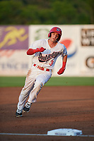 Auburn Doubledays second baseman Brandon Boggetto (3) runs the bases during a game against the Connecticut Tigers on August 9, 2017 at Falcon Park in Auburn, New York.  Connecticut defeated Auburn 6-4.  (Mike Janes/Four Seam Images)