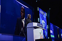 Washington, DC - March 1, 2020: President of the Democratic Republic of the Congo Felix-Antoine Tshisekedi addresses attendees of the AIPAC Policy Conference at the Washington Convention Center March 1, 2020.  (Photo by Don Baxter/Media Images International)