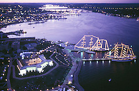 aerial, New London, CT fort & tall ships evening lights