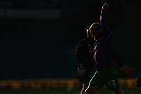 7th November 2020; Carrow Road, Norwich, Norfolk, England, English Football League Championship Football, Norwich versus Swansea City; Silhouette of Teemu Pukki of Norwich City in bright sunshine during the warm up