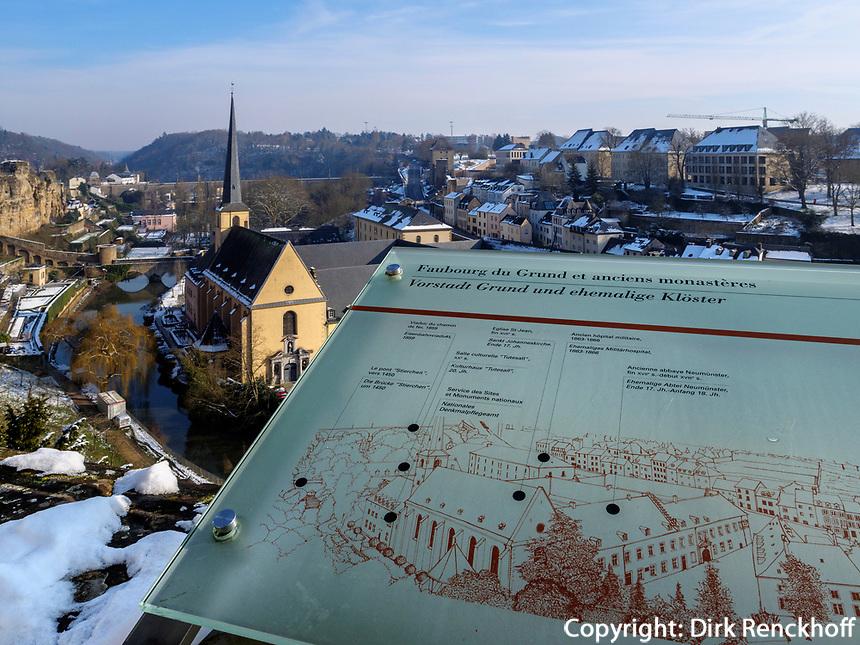 Blick über Grund von Wenzelsmauer, Luxemburg-City, Luxemburg, Europa, UNESCO-Weltkulturerbe<br /> Grund, seen from Wenzelsmauer, Luxembourg City, Europe, UNESCO Heritage