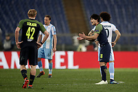 Europa League quarter-final 1st leg <br /> S.S. Lazio - FC Salzburg  Olympic Stadium Rome, April 5, 2018.<br /> Salzburg's Takumi Minamino (r) celebrates after scoring with his teammates during the Europa League match between Lazio and Salzburg at Rome's Olympic stadium, April 5, 2018.<br /> UPDATE IMAGES PRESS/Isabella Bonotto