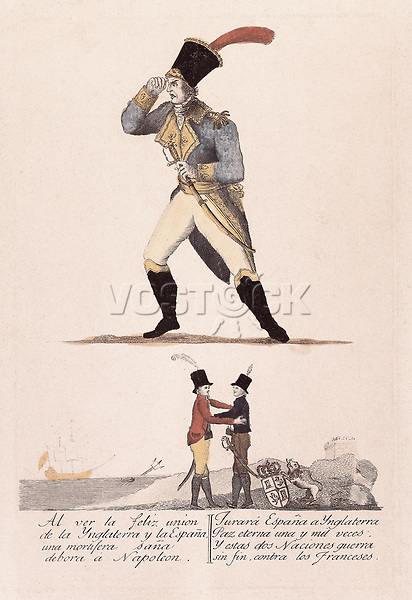 Spain (1808-1814). Peninsular War. Napoleon in front of the alliance between Spain and Inglaterra. Engraving. SPAIN. Madrid. M