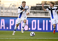 1st September 2021: Helsinki, Finland;   Finlands Marcus Forss  and Fredrik Jensen during the International Friendly Finland versus Wales at the Helsinki Olympic Stadium