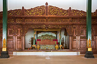 Yogyakarta, Java, Indonesia.  Replica of the Sultan's Bedroom, Traditional Javanese Style.  Adjacent to Ndalem Ngabean Restaurant.