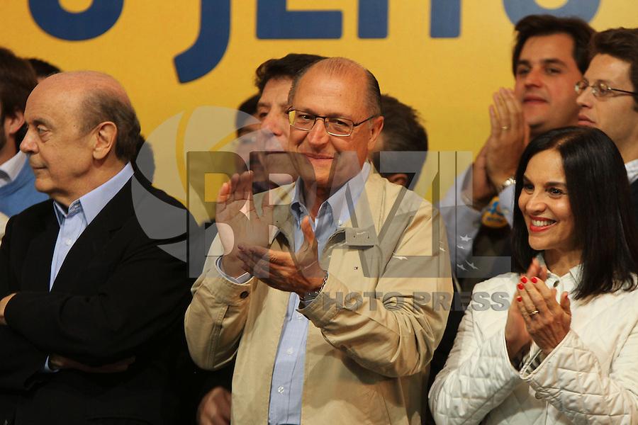 SAO PAULO, SP, 05.10.2014 - ELEICOES 2014 - SAO PAULO - Coletiva de Imprensa com o candidato reileito Governador Geraldo Alckmin na sede do PSDB em Higienopolis  Moema regiao sul de Sao Paulo neste domingo, 05. (Foto: Amauri Nehn / Brazil Photo Press).
