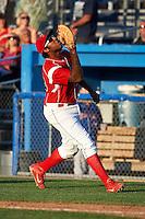 Batavia Muckdogs first baseman David Washington #28 during a NY-Penn League game against the Auburn Doubledays at Dwyer Stadium on September 2, 2012 in Batavia, New York.  Batavia defeated Auburn 8-7.  (Mike Janes/Four Seam Images)