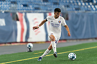 FOXBOROUGH, MA - AUGUST 7: Jonathan Rosales #64 of Orlando City B on the attack during a game between Orlando City B and New England Revolution II at Gillette Stadium on August 7, 2020 in Foxborough, Massachusetts.