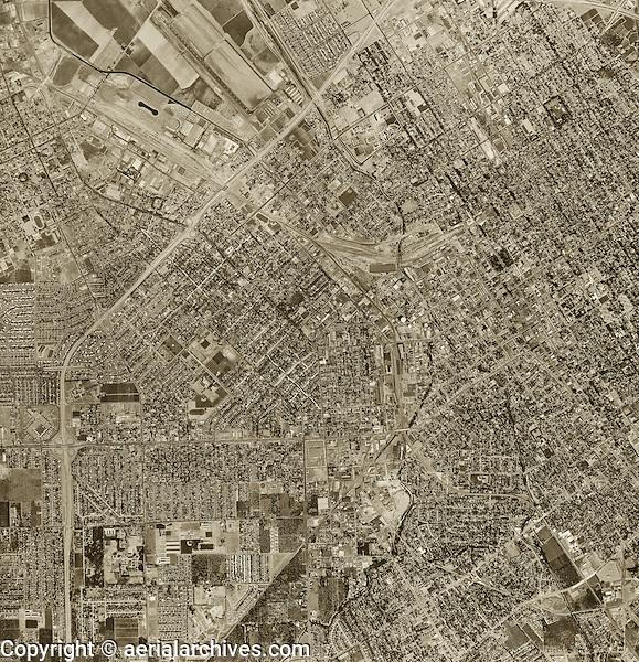 historical aerial photograph San Jose, California, 1960