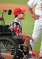 Lake Mary Rams honorary team captain Nick Hamel before a game game against the Lake Brantley Patriots on April 2, 2015 at Allen Tuttle Field in Lake Mary, Florida.  Lake Brantley defeated Lake Mary 10-5.  (Mike Janes/Four Seam Images)