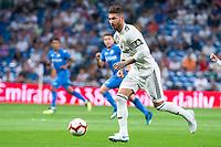 Real Madrid Sergio Ramos during La Liga match between Real Madrid and Getafe CF at Santiago Bernabeu in Madrid, Spain. August 19, 2018.  *** Local Caption *** © pixathlon