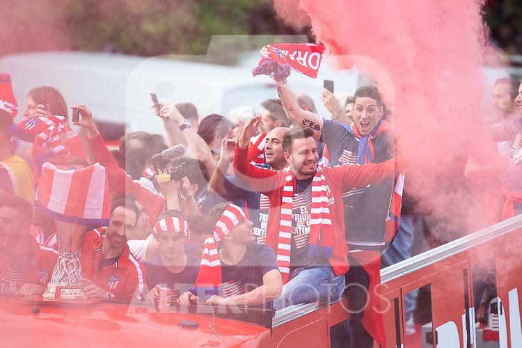 Atletico de Madrid Saul Niguez celebrating Europa League Championship at Neptune Fountain in Madrid, Spain. May 18, 2018. (ALTERPHOTOS/Borja B.Hojas)