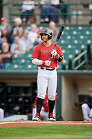 Rochester Red Wings right fielder Daniel Palka (37) at bat during the first game of a doubleheader against the Scranton/Wilkes-Barre RailRiders on August 23, 2017 at Frontier Field in Rochester, New York.  Rochester defeated Scranton 5-4 in a game that was originally started on August 22nd but postponed due to inclement weather.  (Mike Janes/Four Seam Images)