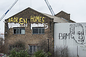 Broken Homes.  Garffiti on a derelict building in Hackney Wick, a former light industrial area undergoing rapid gentrification.