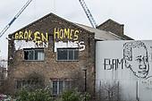 Broken Homes.  Garffiti on a derelict building in Hackney Wick, a former light industrial area undergoing rapid gentrification.