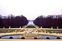 Versailles: Tapis Vert  (green carpet) and Grand Canal. In foreground, Latona Basin.