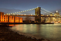THIS PHOTO IS AVAILABLE EXCLUSIVELY FROM GETTY IMAGES.....Please search for image # 73930718 on www.gettyimages.com....Brooklyn Bridge, East River and Lower Manhattan at Dusk, viewed from Brooklyn.....New York City, New York State, USA
