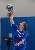 26 October 2014: Yeshiva University Maccabee Middle Blocker Marissa Almoslino, a Sophomore from Seattle, WA, warms up prior to a game against the Maritime College Privateers, at the College of Mount Saint Vincent, in Riverdale, NY. The Privateers defeated the Maccabees 3-0 in the NCAA Division III Women's Volleyball Skyline matchup. Mandatory Credit: Ed Wolfstein Photo *** RAW (NEF) Image File Available ***
