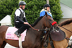 LOUISVILLE, KY - MAY 04: Mokat (Uncle Mo x Flashy Frolic, by Premiership) is led from the track at Churchill Downs, Louisville KY. She is pointed toward the Kentucky Oaks. Owner J K Racing Stable, trainer Richard Baltas. (Photo by Mary M. Meek/Eclipse Sportswire/Getty Images)