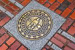 Sidewalk plaque, Boston National Historical Park, Boston, Massachusetts, USA
