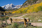 Snow on the Maroon Bells in autumn, west of Aspen, Colorado. John offers autumn photo tours throughout Colorado. John offers fall foliage photo tours throughout Colorado.