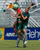 Washington Freedom defender/midfielder Sonia Bompastor (8) and St. Louis Athletica midfielder Amanda Cinalli (15) go up for the ball during a WPS match at Anheuser-Busch Soccer Park, in Fenton, MO, June 20 2009. Washington  won the match 1-0.