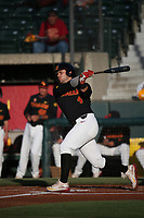 Brandon Perez (4) of the Southern California Trojans bats against the Stanford Cardinal at Dedeaux Field on April 6, 2017 in Los Angeles, California. Southern California defeated Stanford, 7-5. (Larry Goren/Four Seam Images)