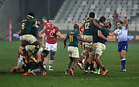 Siya Kolisi - South Africa captain (6), Franco Mostert and Malcolm Marx celebrate as the final whistle is blown after beating the British Lions 19-16 in the third test to win the series 2-1, as Luke Cowan-Dickie and Sam Simmonds look on dejected.<br /> British & Irish Lions v South Africa,  3rd Test, Cape Town Stadium, Cape Town, South Africa,  Saturday 7th August 2021. <br /> Please credit: FOTOSPORT/DAVID GIBSON