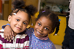 Preschool 4-5 year olds Closeup portrait of two girls friends horizontal