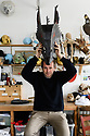 """London, UK. 01.05.2019. Mark Down, Master Puppeteer, of Blind Summit puppet theatre company, in their studio in North London, creating puppets for """"Peter and the Wolf"""", which will be performed on August 20th 2019, in the Hollywood Bowl, L.A. Photograph © Jane Hobson."""