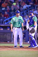 ***Temporary Unedited Reference File***Tulsa Drillers manager Ryan Garko (25) during a game against the Arkansas Travelers on April 28, 2016 at ONEOK Field in Tulsa, Oklahoma.  Tulsa defeated Arkansas 5-4.  (Mike Janes/Four Seam Images)