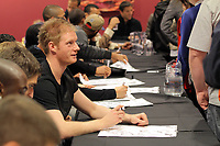 Pictured: Alan Tate signing copies of the new Swansea City FC calendar at the Liberty Stadium, Swansea south Wales. Thursday 02 december 2011<br /> Re: