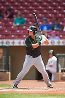 Dayton Dragons first baseman James Vasquez (25) at bat during a game against the Cedar Rapids Kernels on July 24, 2016 at Perfect Game Field in Cedar Rapids, Iowa.  Cedar Rapids defeated Dayton 10-6.  (Mike Janes/Four Seam Images)