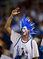 An El Salvador fan cheers on the his team at RFK Stadium in Washington, DC.  Jamaica defeated El Salvador, 2-0.