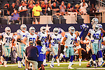 The Dallas Cowboys in action before the pre-season game between the Houston Texans and the Dallas Cowboys at the AT & T stadium in Arlington, Texas.