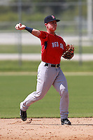 Boston Red Sox minor league second baseman Sean Coyle (16) during a game vs. the Minnesota Twins in an Instructional League game at Lee County Sports Complex in Fort Myers, Florida;  October 1, 2010.  Coyle was taken in the third round, 110th overall, of the 2010 MLB Draft.  Photo By Mike Janes/Four Seam Images
