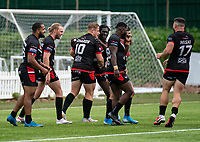 Greg Richards of London Broncos celebrates his try during the Betfred Championship match between London Broncos and Newcastle Thunder at The Rock, Rosslyn Park, London, England on 9 May 2021. Photo by Liam McAvoy.