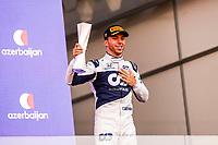 6th June 2021; F1 Grand Prix of Azerbaijan, Race Day;  GASLY Pierre fra, Scuderia AlphaTauri Honda AT02, portrait celebrating his podium during the Formula 1 Azerbaijan Grand Prix 2021 at the Baku City Circuit