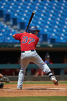 Carlos Pena (37) of Salisbury HS in Bayside, NY playing for the Boston Red Sox scout team during the East Coast Pro Showcase at the Hoover Met Complex on August 5, 2020 in Hoover, AL. (Brian Westerholt/Four Seam Images)