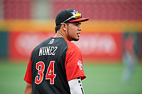 World Team third baseman Renato Nunez (34) during practice before the MLB All-Star Futures Game on July 12, 2015 at Great American Ball Park in Cincinnati, Ohio.  (Mike Janes/Four Seam Images)