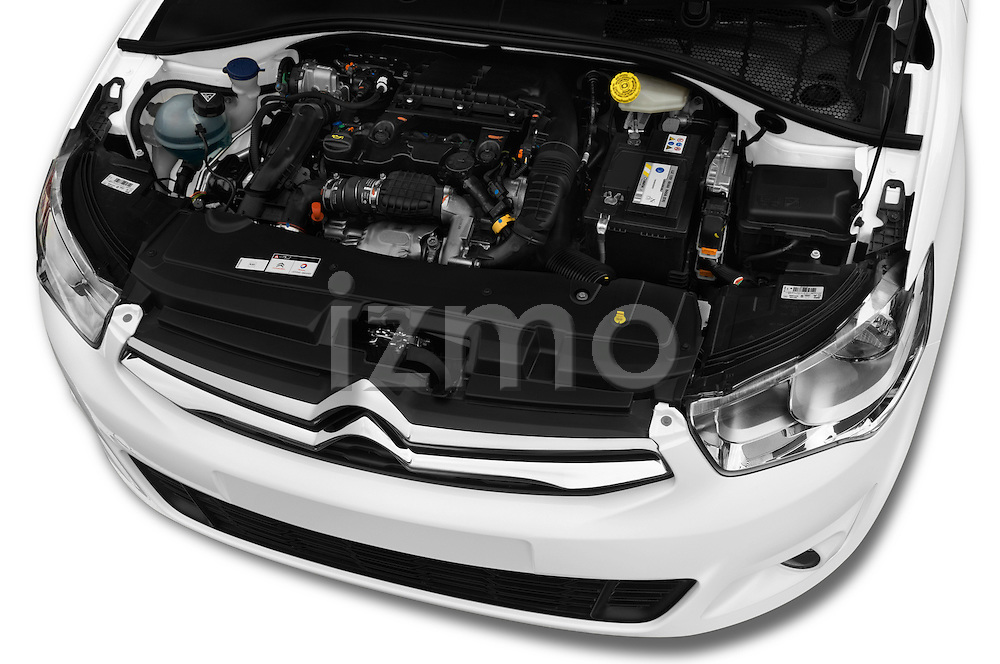 Car Stock 2016 Citroen C-Elysee Confort 4 Door Sedan Engine  high angle detail view