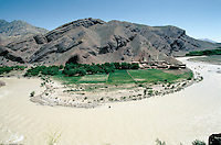 A small village on the border of the Harï Rüd river, on the road to the Menar e Jam in the Ghor province - Afghanistan. .From western Afghan capital Herat to the former capital of the Ghorides Empire Fîrûzkôh, next to the Menar e Jam..-The full text reportage is available on request in Word format