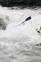 Kayak in Strandaelva. The Extremesport Week, Ekstremsportveko, is the worlds largest gathering of adrenalin junkies. In the small town of Voss enthusiasts in a varitety of extreme sports come togheter every summer to compete and play.© Fredrik Naumann