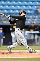 West Virginia Power center fielder Jarred Kelenic (10) swings at a pitch during game one of a double header against the Asheville Tourists at McCormick Field on April 20, 2019 in Asheville, North Carolina. The Tourists defeated the Power 12-7. (Tony Farlow/Four Seam Images)