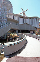 Bruce Goff: Japanese Pavilion, LACMA. North side--oddly this ceremonial ramp is an emergency exit normally closed to the public.  Photo '89.