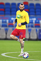 16th March 2021; Cardiff City Stadium, Cardiff, Glamorgan, Wales; English Football League Championship Football, Cardiff City versus Stoke City; Steven Fletcher of Stoke City warms up wearing a 'Kick it out' shirt