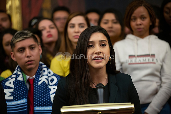 A DACA recipient, joined by Democratic lawmakers, speaks during a press conference on the Deferred Action for Childhood Arrivals program on Capitol Hill in Washington D.C., U.S. on Tuesday, November 12, 2019.  The Supreme Court is currently hearing a case that will determine the legality and future of the DACA program.  <br /> <br /> Credit: Stefani Reynolds / CNP /MediaPunch