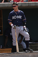 Matthew Weaver #9 of the Rome Braves on deck during a game against the Charleston RiverDogs on April 27, 2010 in Charleston, SC.